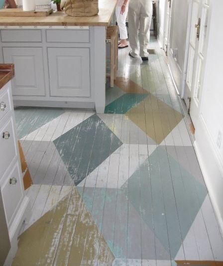 kristin should try this on her painted wood floors!! very cool idea