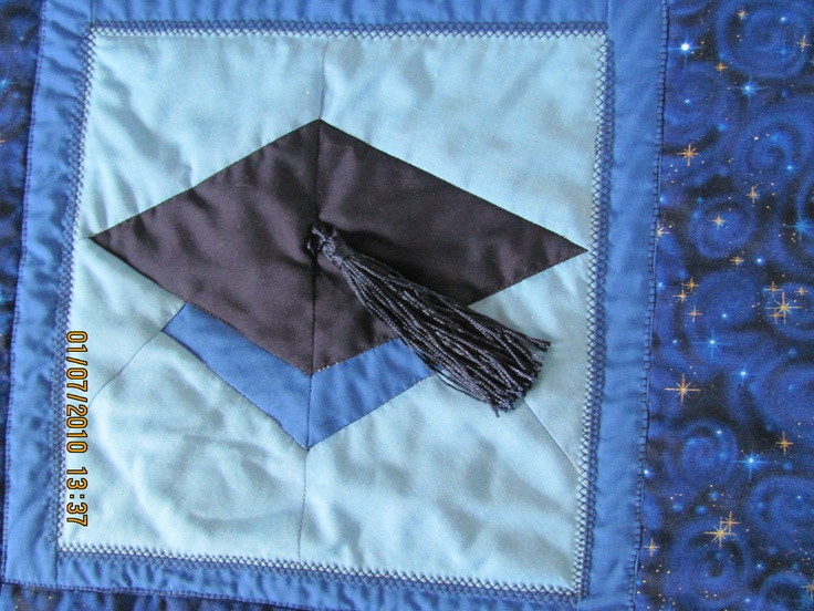 Memory Quilt Block - Grad Hat - can be any colors   $50.     Plus Handling and Shipping.   marilynpearson2@gmail.com