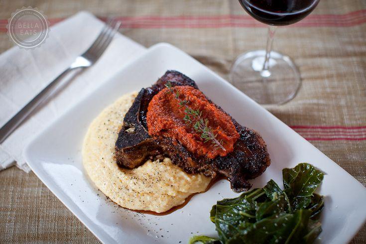 Blackened Pork Chops with Red Sauce and Creamy Cheddar Polenta c/- bellaeats.com