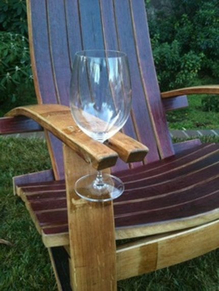 Wood lawn chair with a built in wine holder