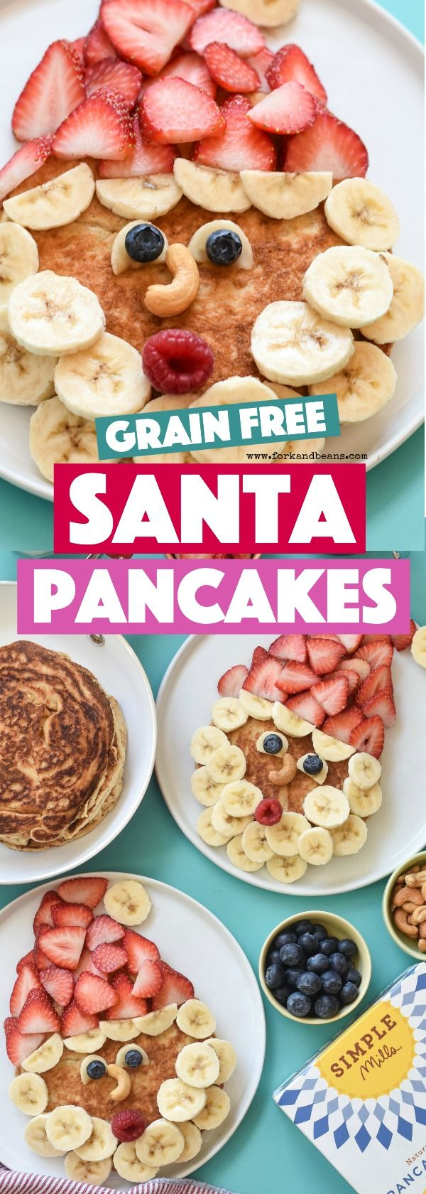 Breakfast is served using Simple Mills' pancake mix, these grain free Healthy Santa Pancakes are the best way to spread holiday cheer #christmasbreakfast #kidfood #funfoodforkids