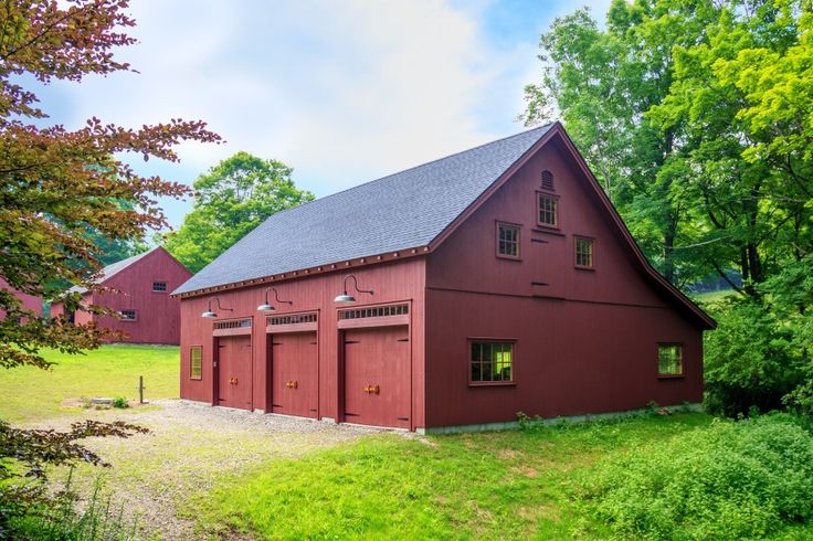 Post and beam carriage barn with custom 2nd floor windows for Carriage barn plans