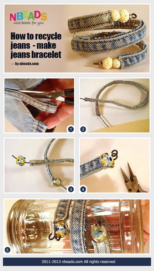 how to recycle jeans - make jeans bracelet