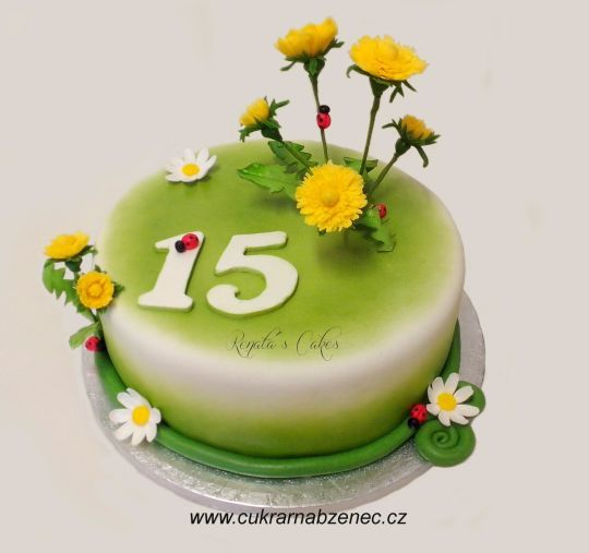 Spring cake with dandelions