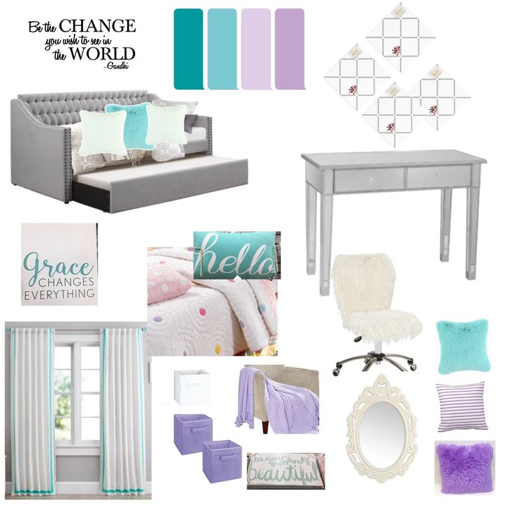 Teenage girl's room  Purple & turquoise