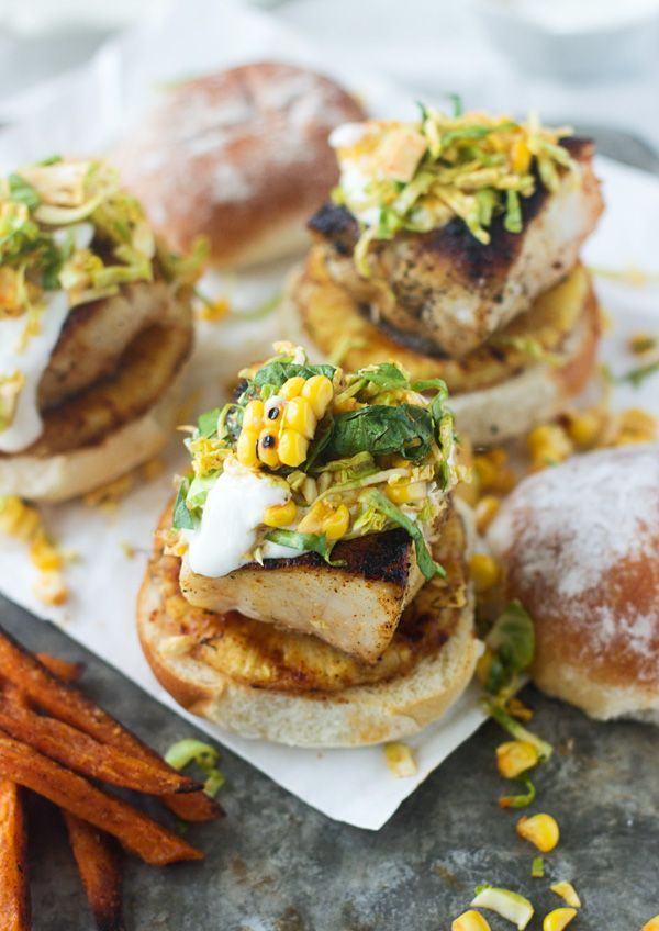 Mahi Mahi Sliders with Grilled Pineapple, Corn Brussels Sprout Slaw and Lime Sour Cream - Cooking for Keeps