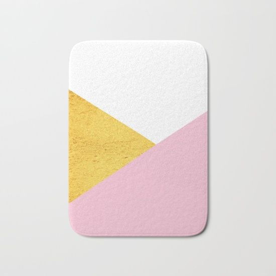 Gold & Pink Geometry Bath Mat by #ARTbyJWP from #Society6 #goldanpink #bathmat #mat #bathroom #accessories #geometrical ---- The perfect bath mats: fuzzy, foamy and finely enhanced with brilliant art. With a soft, quick-dry microfiber surface, memory foam cushion and skid-proof backing, our shower mats are a cut above your typical rug. Keep them clean with a gentle machine wash (no bleach!) and make sure to hang dry.