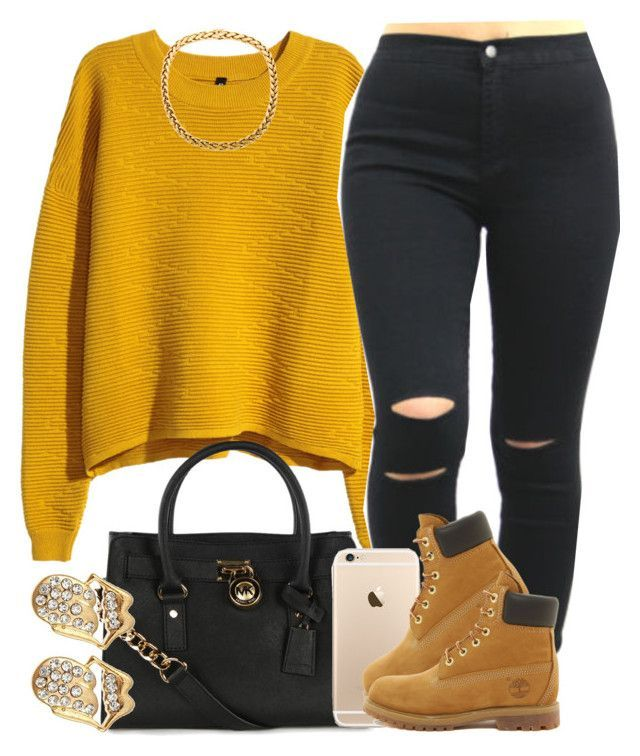 Mustard. by livelifefreelyy on Polyvore featuring polyvore, fashion, style, H&M, Timberland and Michael Kors