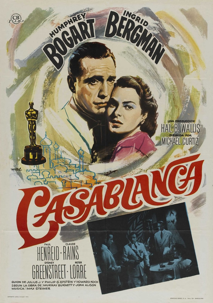 """""""Casablanca"""" in 1942 dir. by Michael Curtiz (Budapest 1886 - Hollywood 1962). American romantic drama film. Set during World War II, it focuses on a man torn between, in the words of one character, love and virtue. He must choose between his love for a woman and helping her and her Czech Resistance leader husband escape from the Vichy-controlled Moroccan city of Casablanca to continue his fight against the Nazis.  Won three Academy Awards. Its characters, dialogue, and music have become…"""