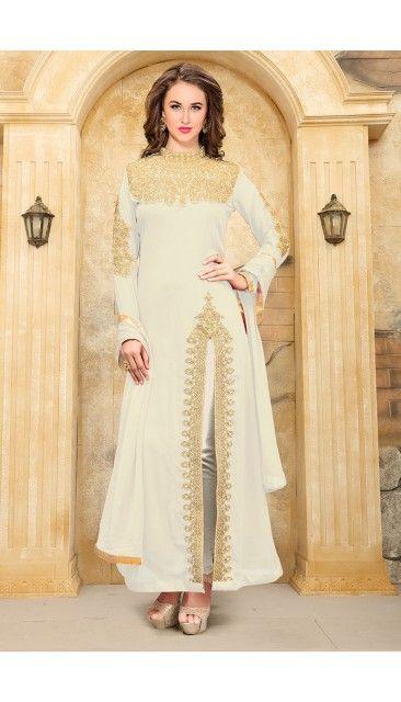 White Faux Georgette Churidar Suit With Dupatta - DMV14931