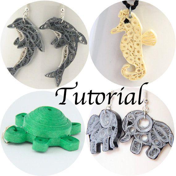 Tutorial per carta Quilled gioielli animali PDF delfino elefante Seahorse tartaruga orecchini pendente