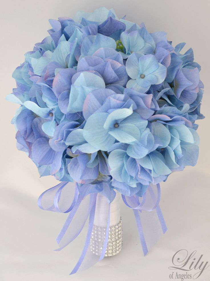"17pcs Wedding Bridal Bouquet Silk Flower Decoration Package PERIWINKLE BLUE HYDRANGEAS ""Lily of Angeles"". $209.99, via Etsy. I know I could do this for way less"