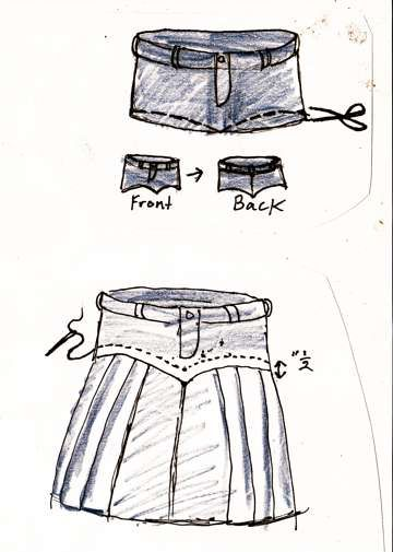 Turn jeans into a cute denim skirt!  DIY