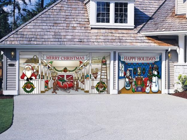 Merry christmas festive garage door magnets christmas for Christmas garage door mural