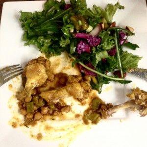 Gekruide kip met bonen en een salade van paarse bloemkool :D