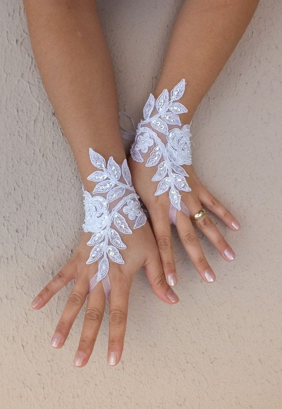 - Repinned by Prindler Productions -  white lace glove,  Wedding gloves free ship happiness rose bridal gloves fingerless lace gloves white gloves french lace gloves free ship