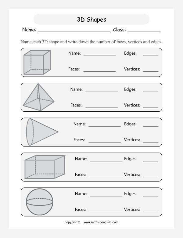 3d Shapes Faces Edges Vertices Worksheets Worksheets Shapes Worksheets Free Kindergarten Worksheets 3 dimensional figures worksheets