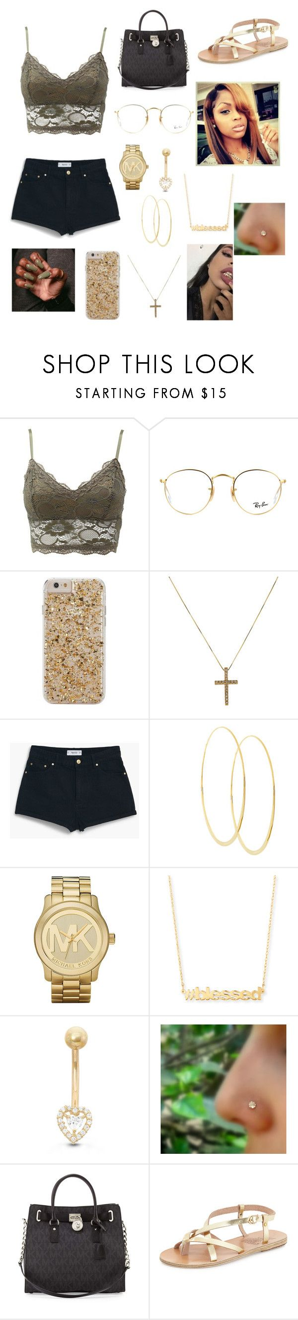 """""""Mall😍😍"""" by dillyntroywifeyyyy ❤ liked on Polyvore featuring Charlotte Russe, Ray-Ban, Case-Mate, MANGO, Lana, Michael Kors, Jennifer Zeuner, Gioelli, MICHAEL Michael Kors and Ancient Greek Sandals"""