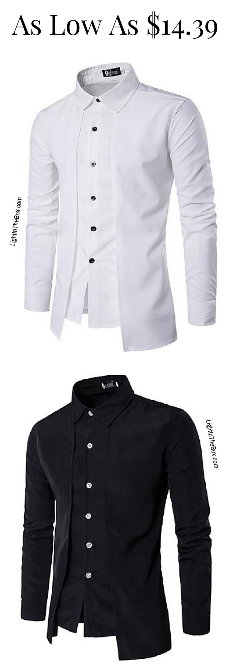 Unique design stylish men formal shirt. Wear it to work or special events. Click on the picture to shop in white, black and navy blue colours at just $14.39.