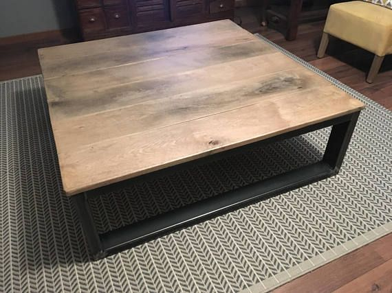 Industrial Furniture Large Table Low Oak Plateau Etsy Industrial Style Interior Industrial Furniture Large Coffee Tables