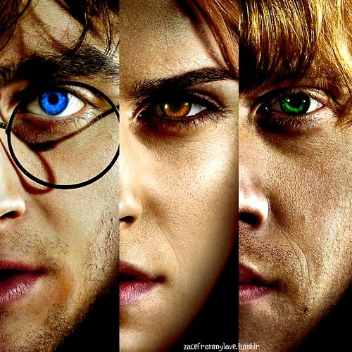 YEA IK HARRY'S EYES ARENT SUPPOSED TO BE BLUE. BUT IF UR A TRU POTTERHEAD U KNO WHY THEYRE BLU IN THE MOVIES SO STOP COMPLAININ & JUST STARE IN AWE AT THE ARTWORK. -@for_real