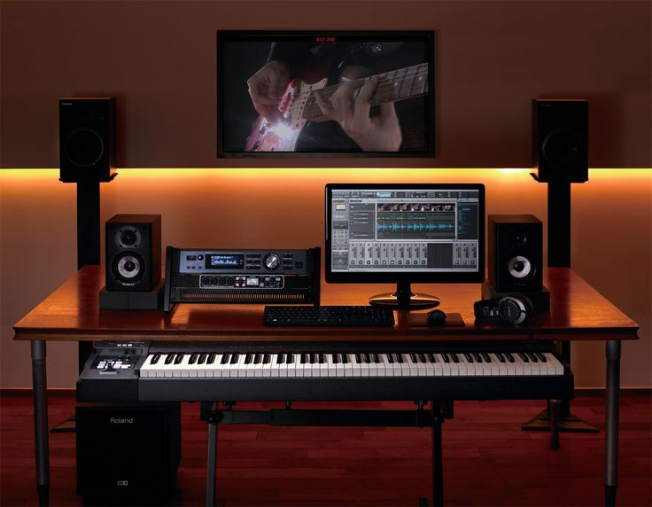 This image represents current play, and shows piano and a home studio setup…
