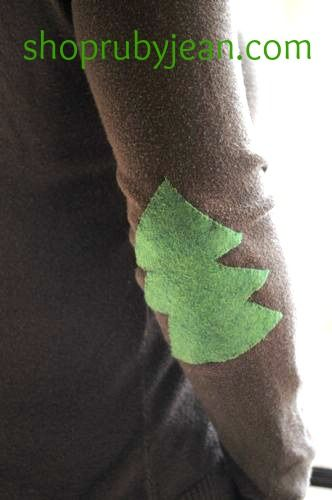 sweater patch for homemade sweater - don't forget elbow patches! lol love it!