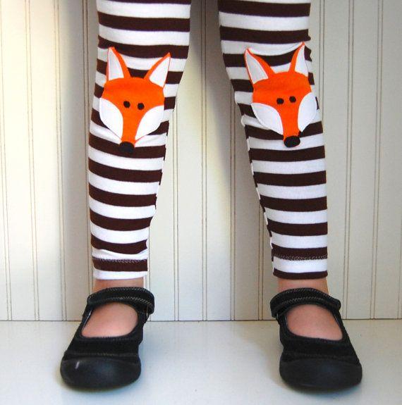 Fox Leggings Brown Stripe Girls Sizes 1218 mos 2 by thetrendytot
