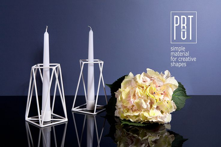 PRUT candle holders, white