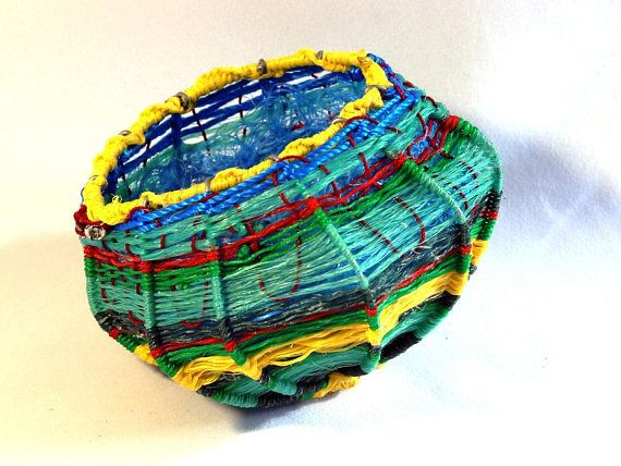 Ghost net woven basket, air plant or bromeliad pod, recycled bicycle spoke and ghost net art