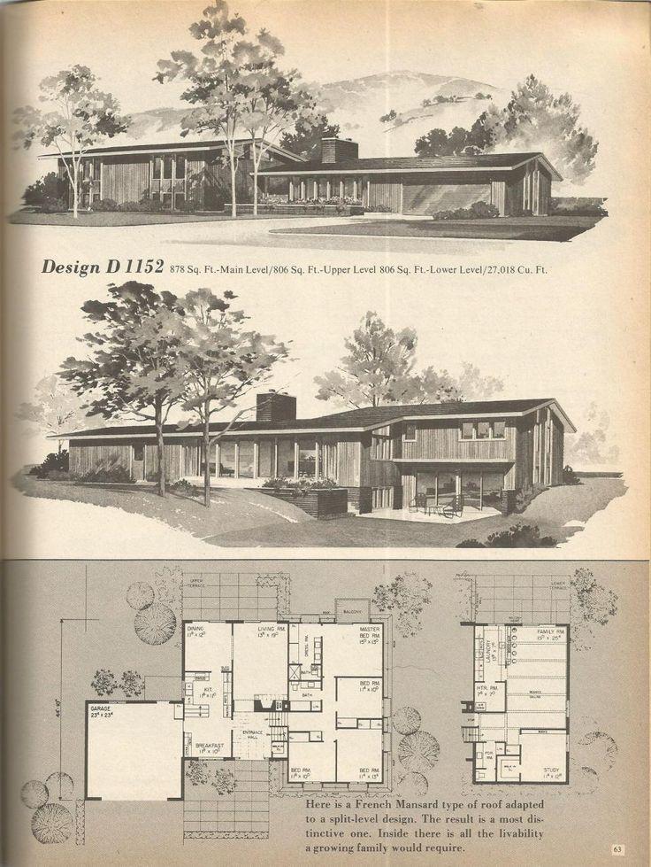 578 best midcentury architectural plans images on pinterest floor