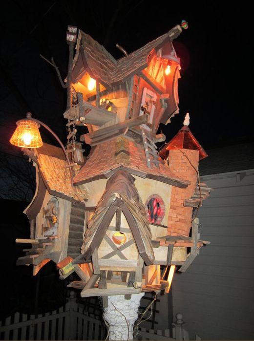 sweet whimsical birdhouse at night