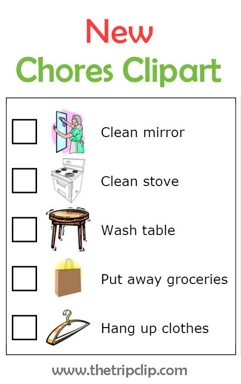 5 new images customers have requested for The Trip Clip's chore chart.  See the whole collection at www.thetripclip.com.