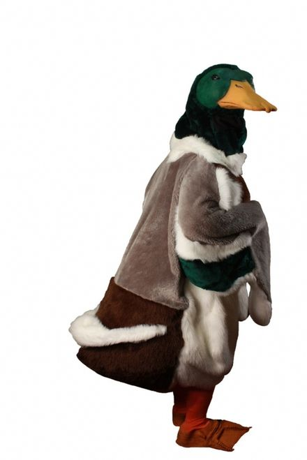 Mallard Duck Mascot Costume - Waddle like a water fowl in this hand made duck mascot costume. This mascot is a one piece faux fur body with duck detail all over it. There is four different colours of fun fur that make up the body. The Bottom bum is lined with stuffing and creates a waddle when you walk. The body does up with a Velcro front closure and has hand openings in the wings that Velcro shut seamlessly as well. #mallard #duck #mens #yyc #costume #calgary