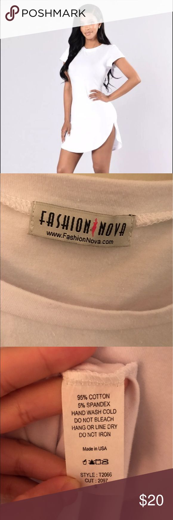 Fashion Nova white curved hem dress 100% cotton dress. Suitable for a dress up or dress down occasion. NEVER WORN. not for my body type Fashion Nova Dresses Midi