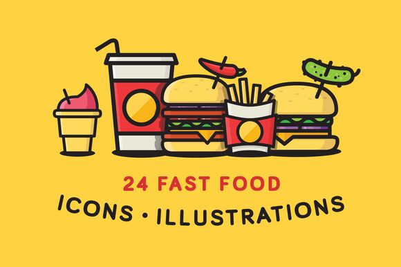 Check out Fast Food Icons / Illustrations by S4 Shop on Creative Market