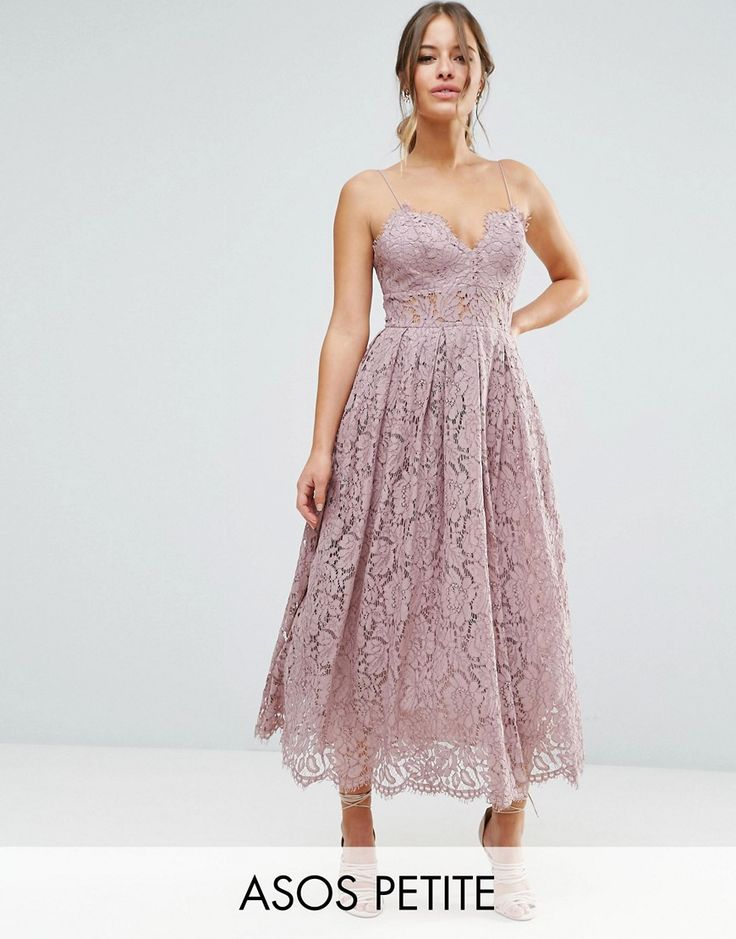 1950s Prom Dresses & Party Dresses ASOS PETITE Lace Cami Midi Prom Dress - Lilac £75.00 AT vintagedancer.com