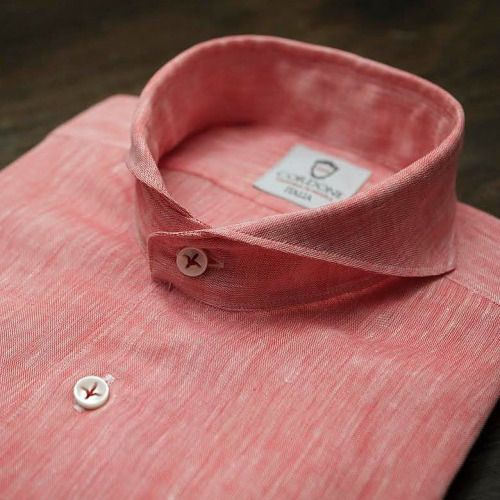 Linen coral luxury shirt handmade by @cordone_1956 buy online at :  www.cordone1956.it