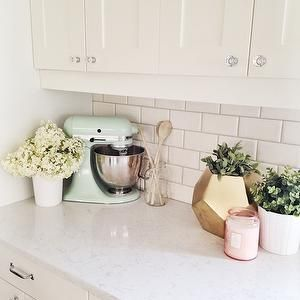 White Quartz Countertops, Transitional, kitchen, Oh My Dear Blog