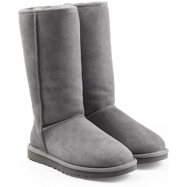 UGG Australia Classic Tall Suede Boots ($280) ❤ liked on Polyvore featuring shoes, boots, uggs, grey, tall knee high boots, ugg australia boots, grey boots, round cap and round toe boots