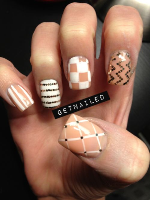Nude Nails, Nails Art, Cute Nails, Nailart, Nails Design, Rings Fingers, Mixed Prints, Colors Combinations, Chevron Nails