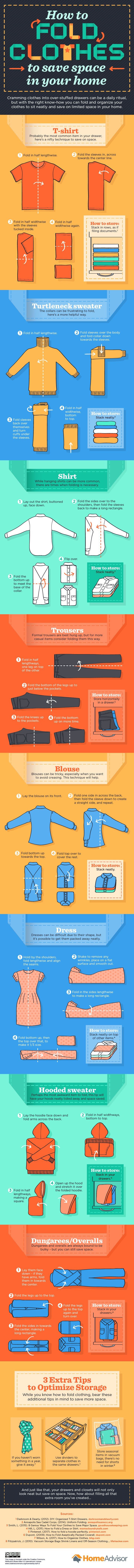 How to Fold Clothes to Save Space #Infographic #Clothes