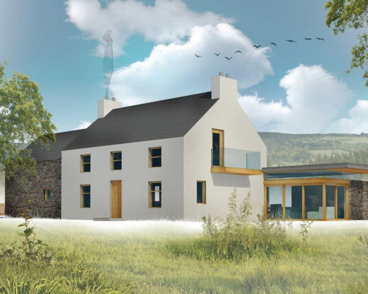 The attractive proportions of this 2300sq ft Irish farm house with its traditional stone and brick arched barn are highlighted further by the modern highly glazed