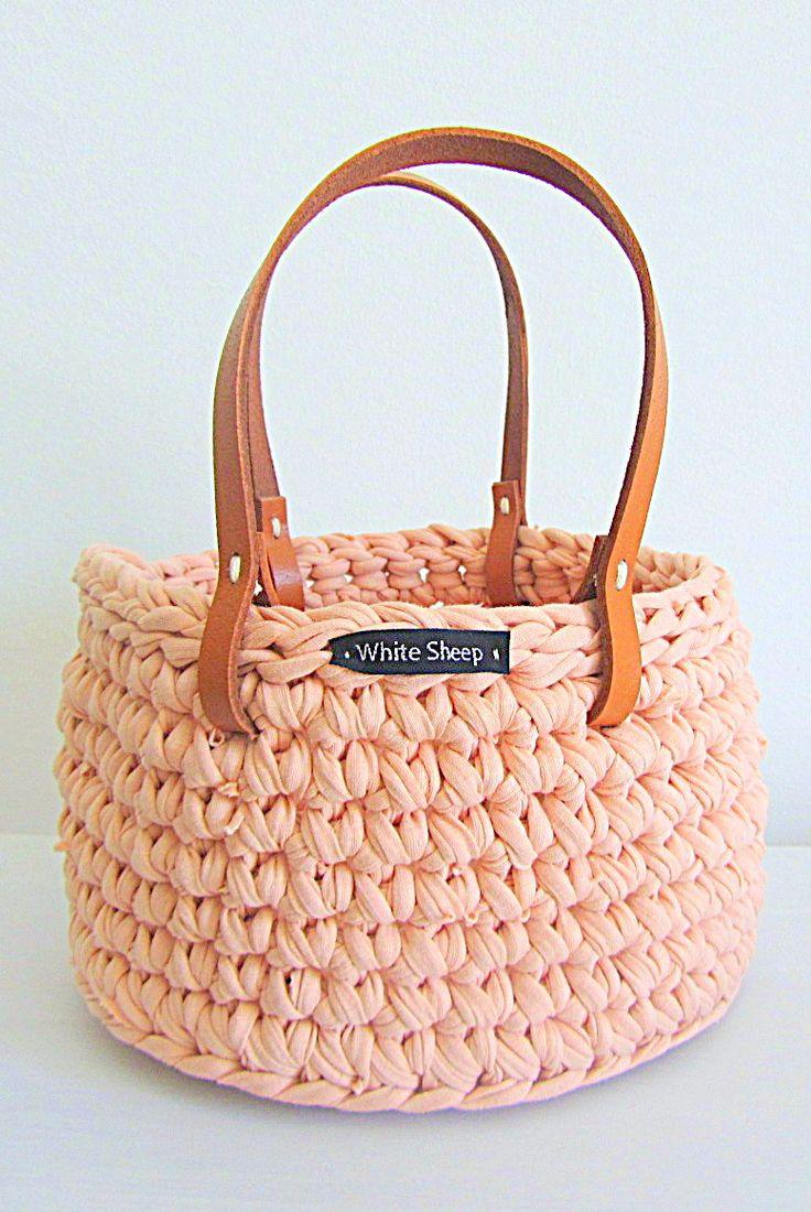 Handmade Crochet Basket : Crochet basket with leather handles beautiful handmade by