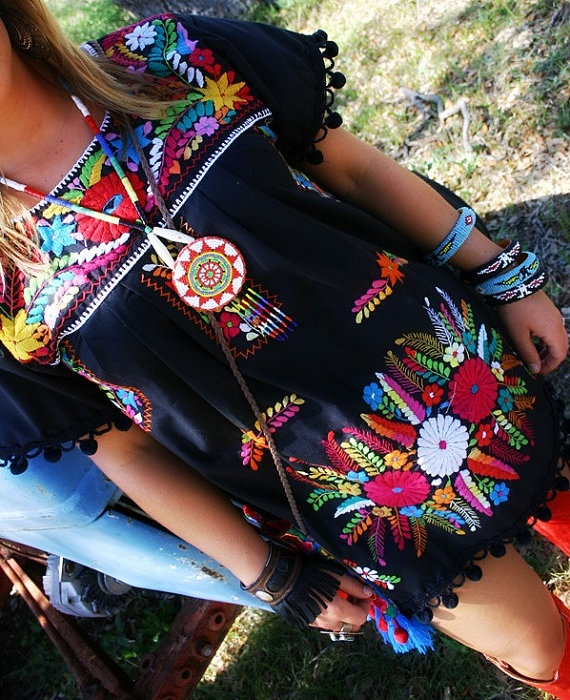 noche bohemia mexican embroidered dress by elizabethpalmer