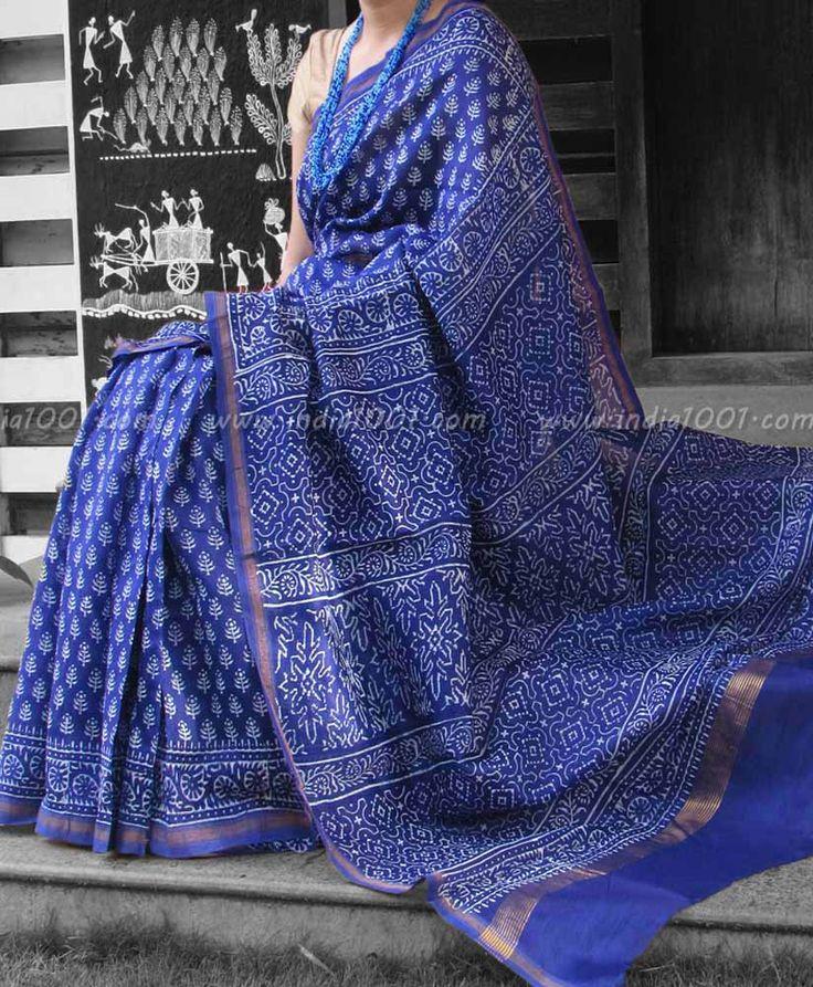 Elegant Chanderi Saree with Block Printing   India1001.com