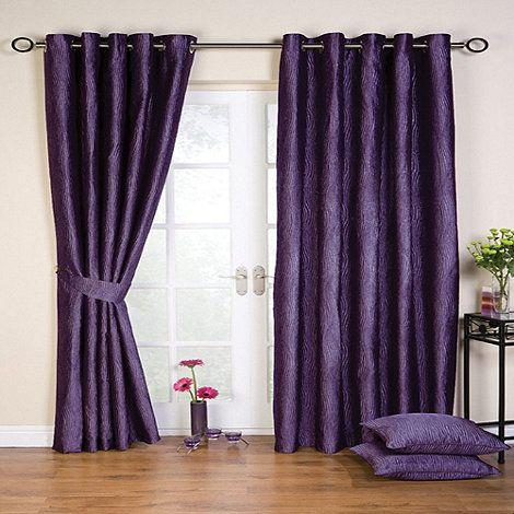 Whiteheads Ripple Amethyst Lined Eyelet Curtains-   Debenhams