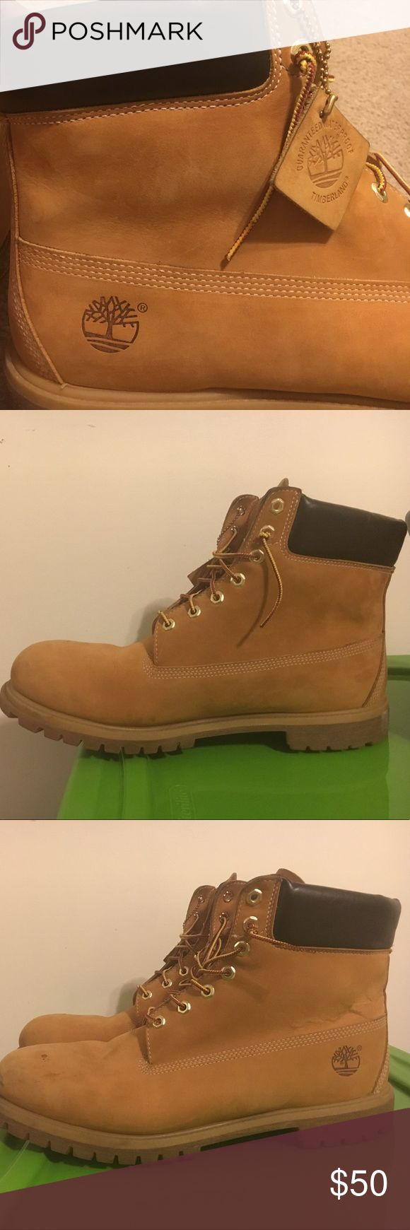 Gently used men Timberland Waterproof boots. Gently used waterproof boot few stains clean them up and they will look brand new. No need to buy a new pair when you can own these . But plenty of wear left. Make a reasonable offer. Wheat color Timberland Shoes Boots