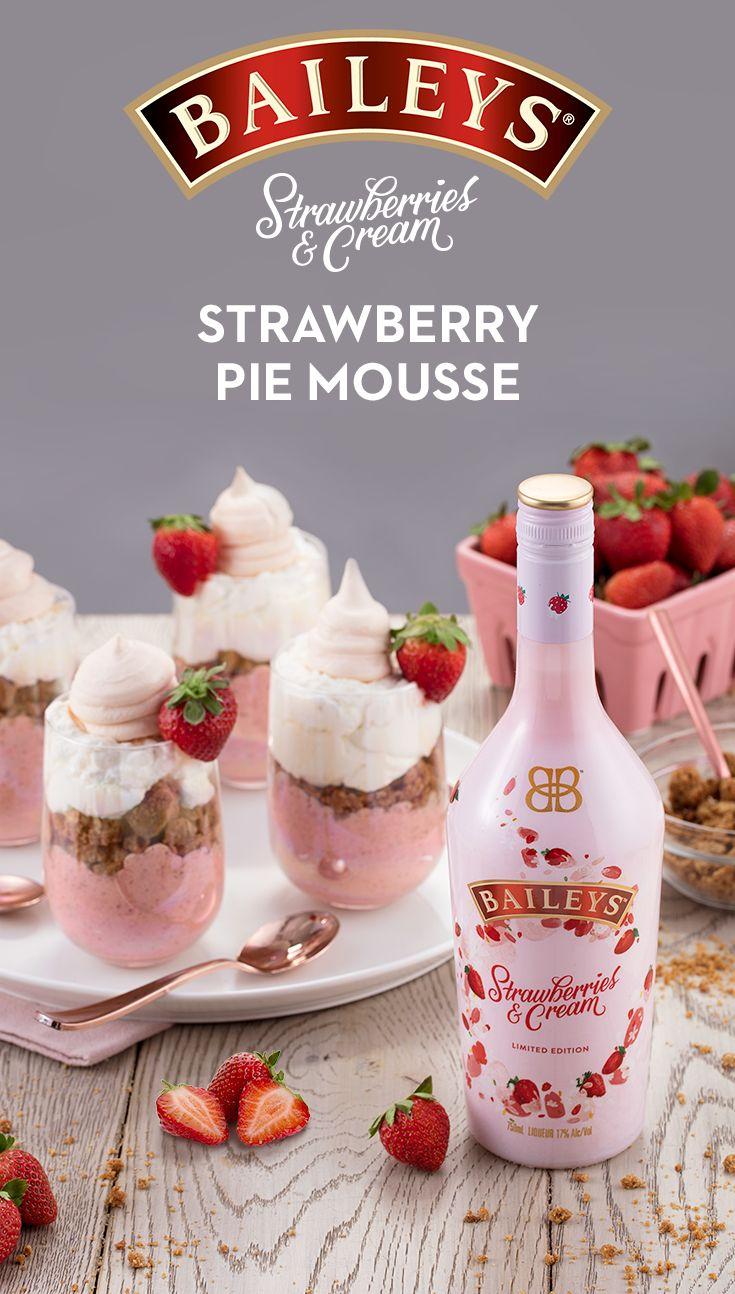 NEW Baileys Strawberries & Cream liqueur is here w/ a sweet recipe! To make, whisk 1 lb pureed strawberries, 1/2 c sugar, 1/2 tbsp lemon juice, 1 tsp salt & 3 egg yolks in 4-qt saucepan til smooth. Over medium heat, whisk until thick (~15 min). Move to large bowl & stir in 3 tbsp Baileys. Refrigerate for 30 min. Whisk 3 egg whites in bowl until stiff & add to strawberry mix. Whisk 1 c heavy cream & 1.5 tsp vanilla in bowl until stiff. Fold into mix. Spoon mousse into glasses & chill. Serves…