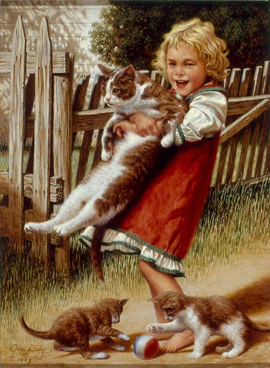 Childhood Friends by Jim Daly  Seems I always had a cat or two or three or......